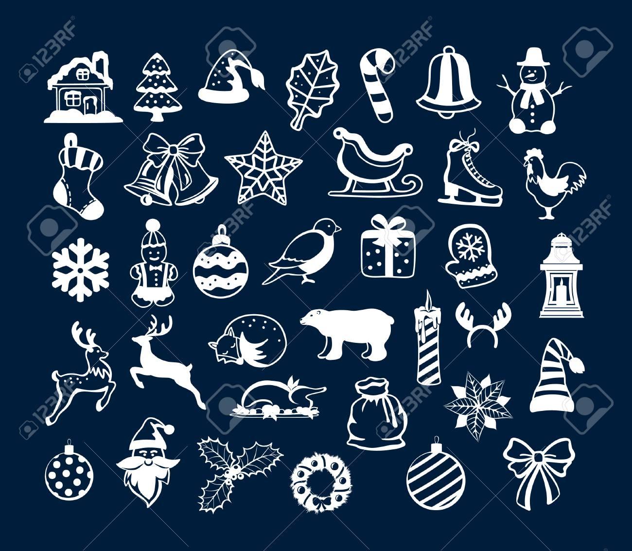 Winter Frohe Weihnachten Und Happy New Year Objekte Dekoration ...