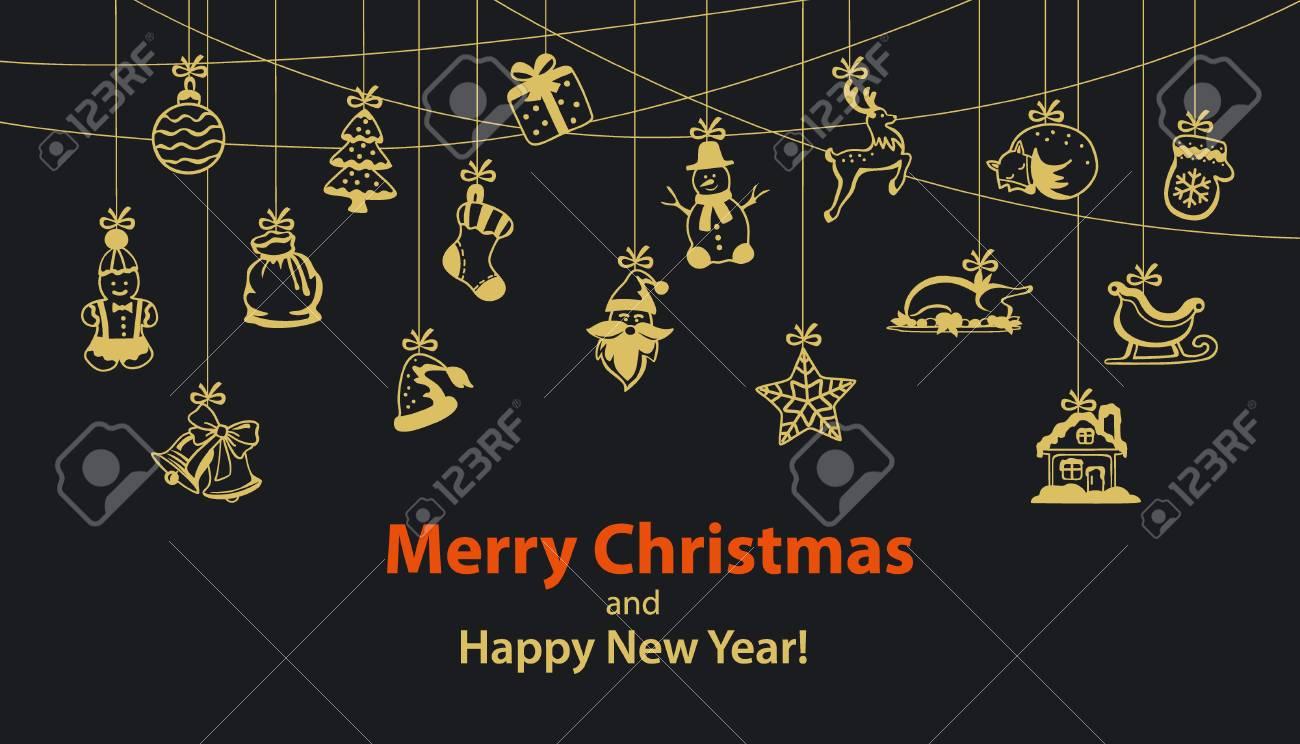 Frohe Weihnachten Und Happy New Year Saisonale Winter Hängenden Seil ...