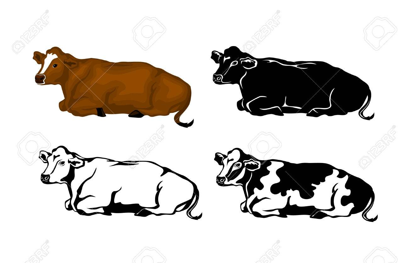 Lying Cow In Brown Color Silhouette Contour And Patched Cow Color