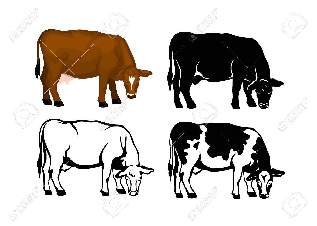 Grazing Cow In Brown Color, Contour And Patched Silhouette Set ...