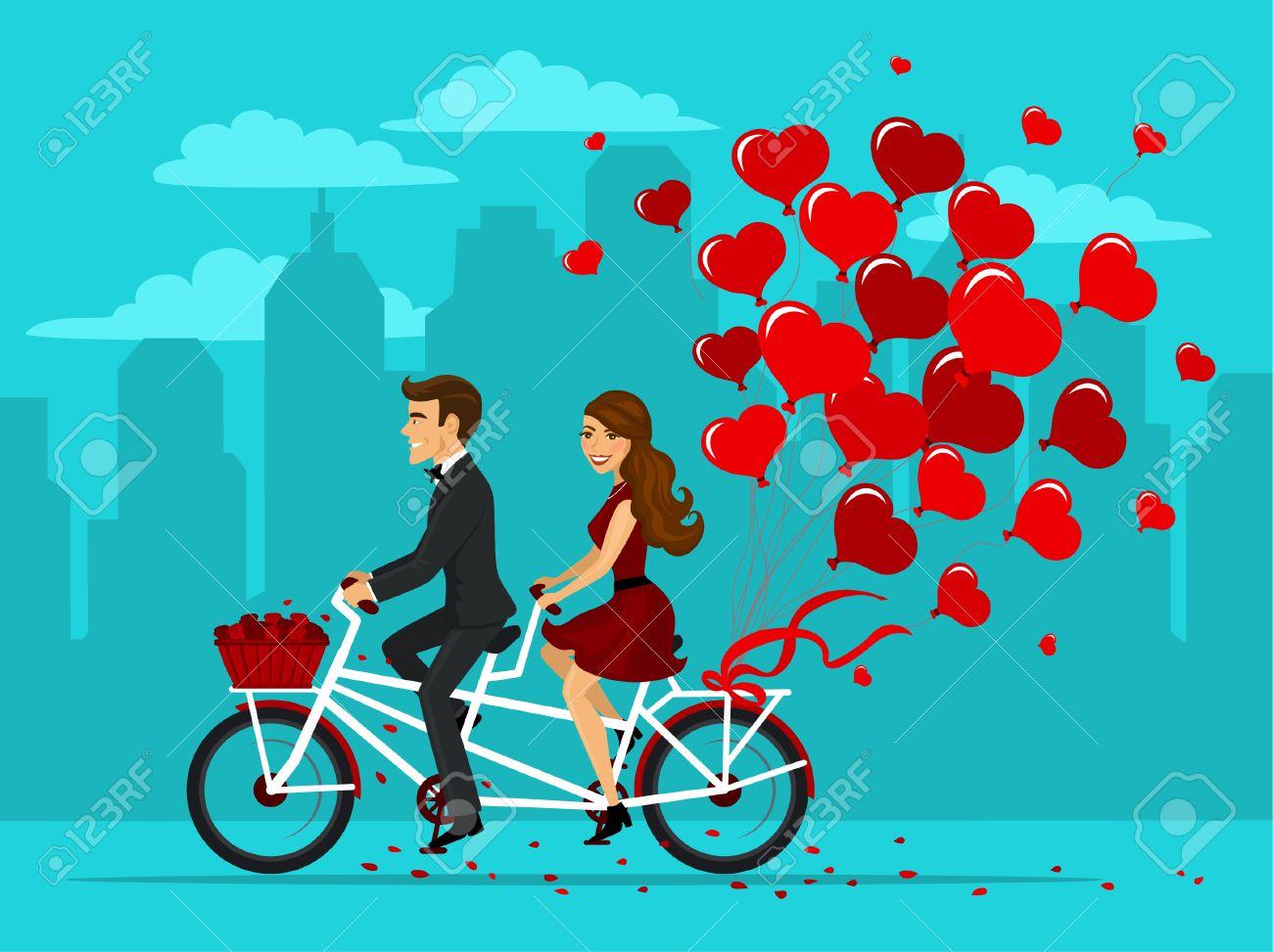 Homme Et Femme Amoureuse D Un Velo Tandem Avec Des Ballons Comme Des