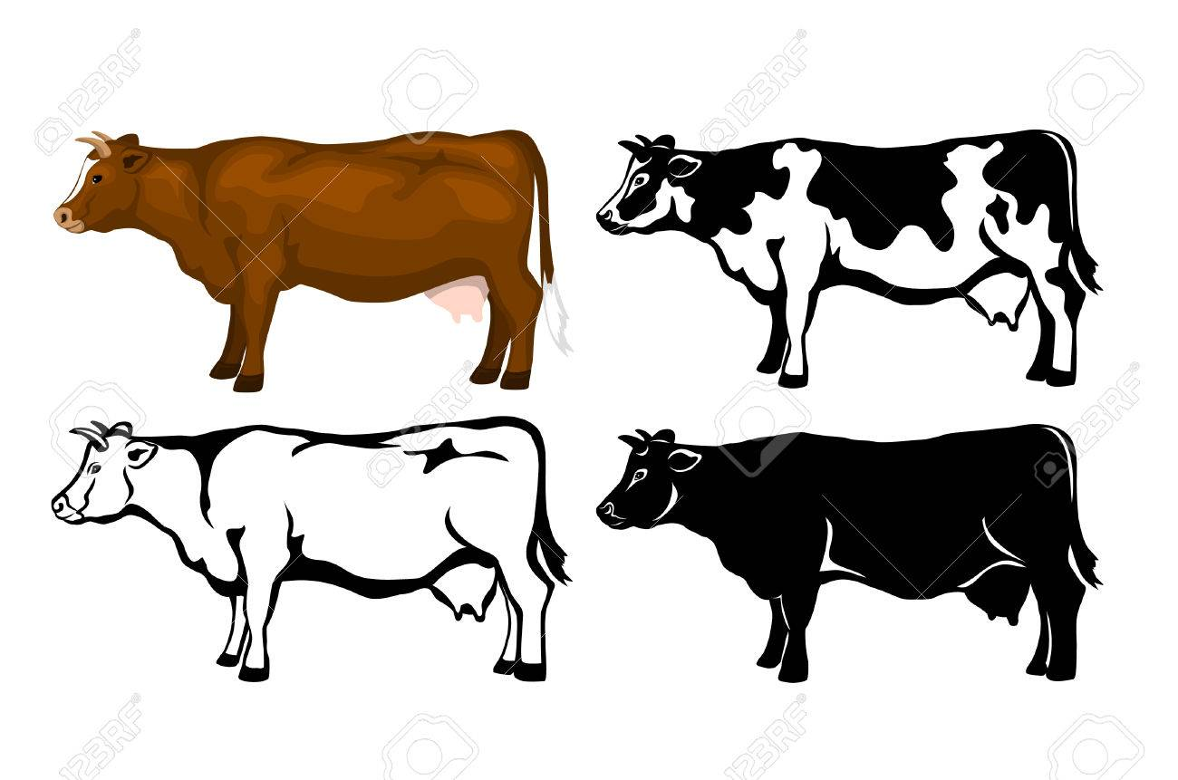 Cow In Brown Color Silhouette Contour And Patched Silhouette Cow Color