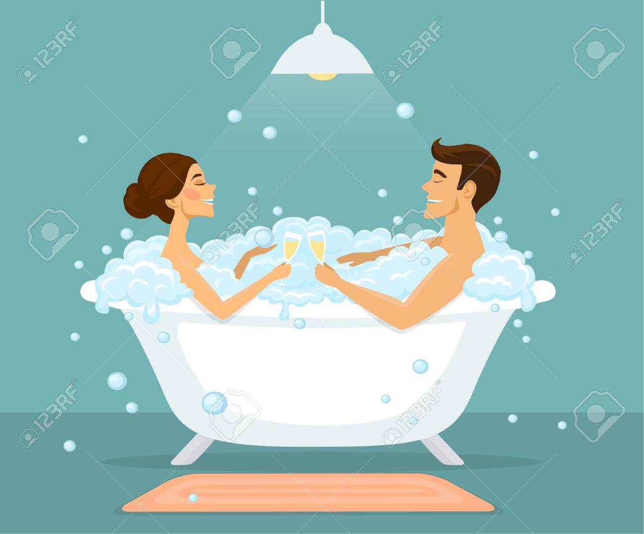 Couple, Man And Woman Taking Bath In A Vintage Bathtub With Bubbles ...