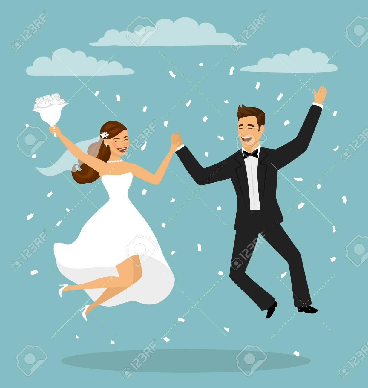 Sólo Casado Divertido Pareja, Novia Y El Novio Saltando Después De ...