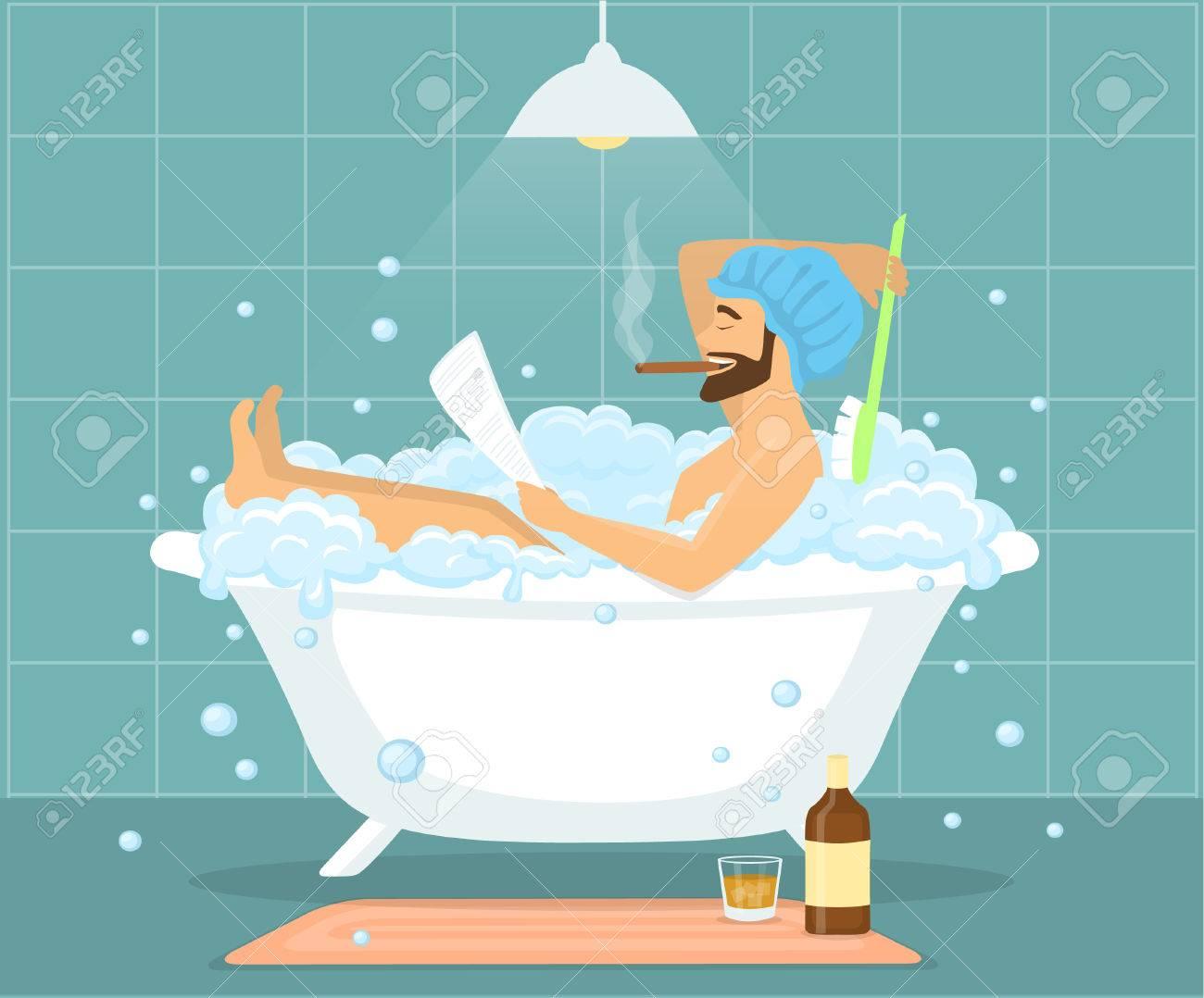 Happy Funny Man Guy Taking Bath In Bubble Vintage Bathtub, Relaxing ...