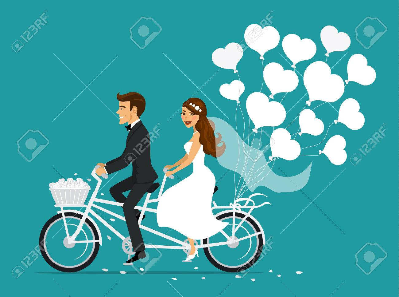 Just married couple bride and groom riding tandem bicycle - 71547216