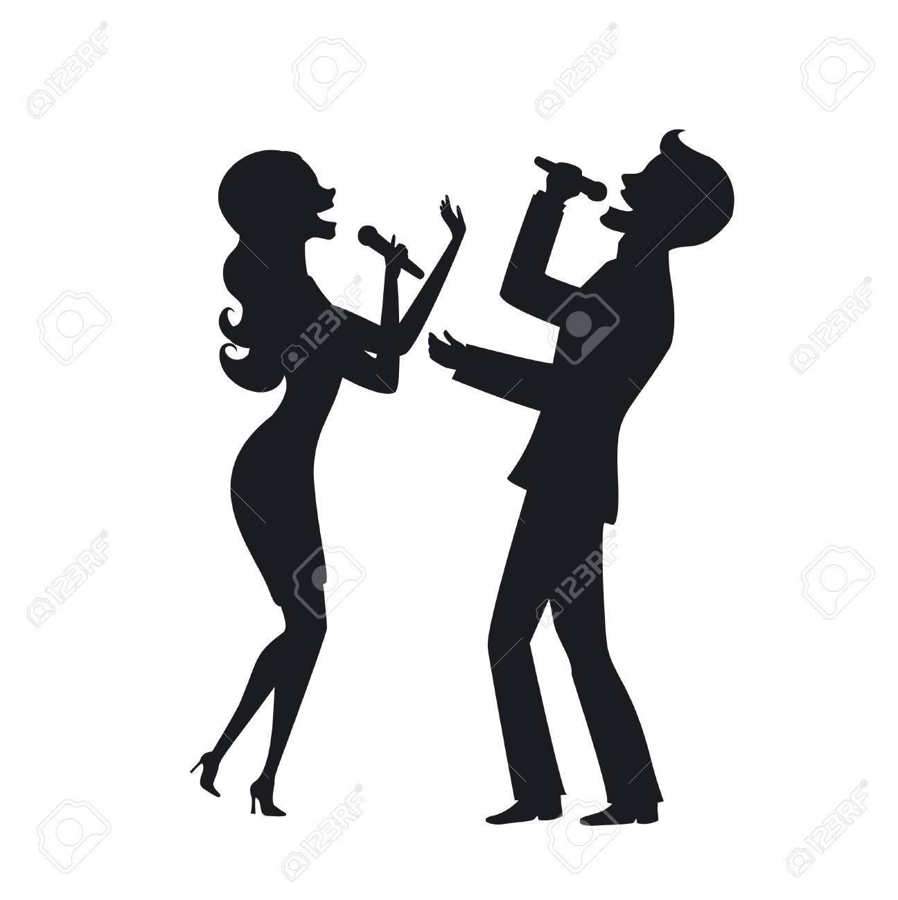 エレガントなカップル歌うカラオケ ステージ シルエット イラストの