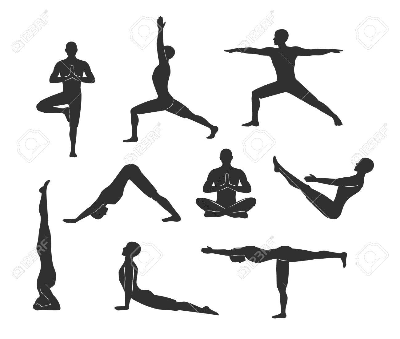 Yoga Workout Silhouettes Of A Man In Tree Sirsasana Boat