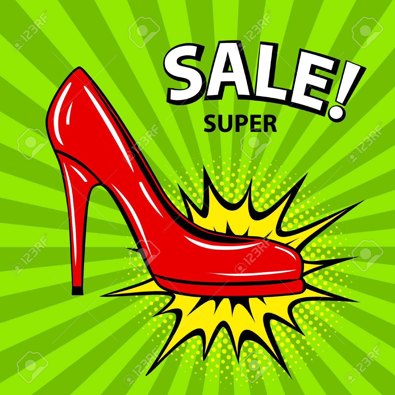 Super Sale Schuhe Banner Im Comic Stil Pop Art Mit Rotem Absatz