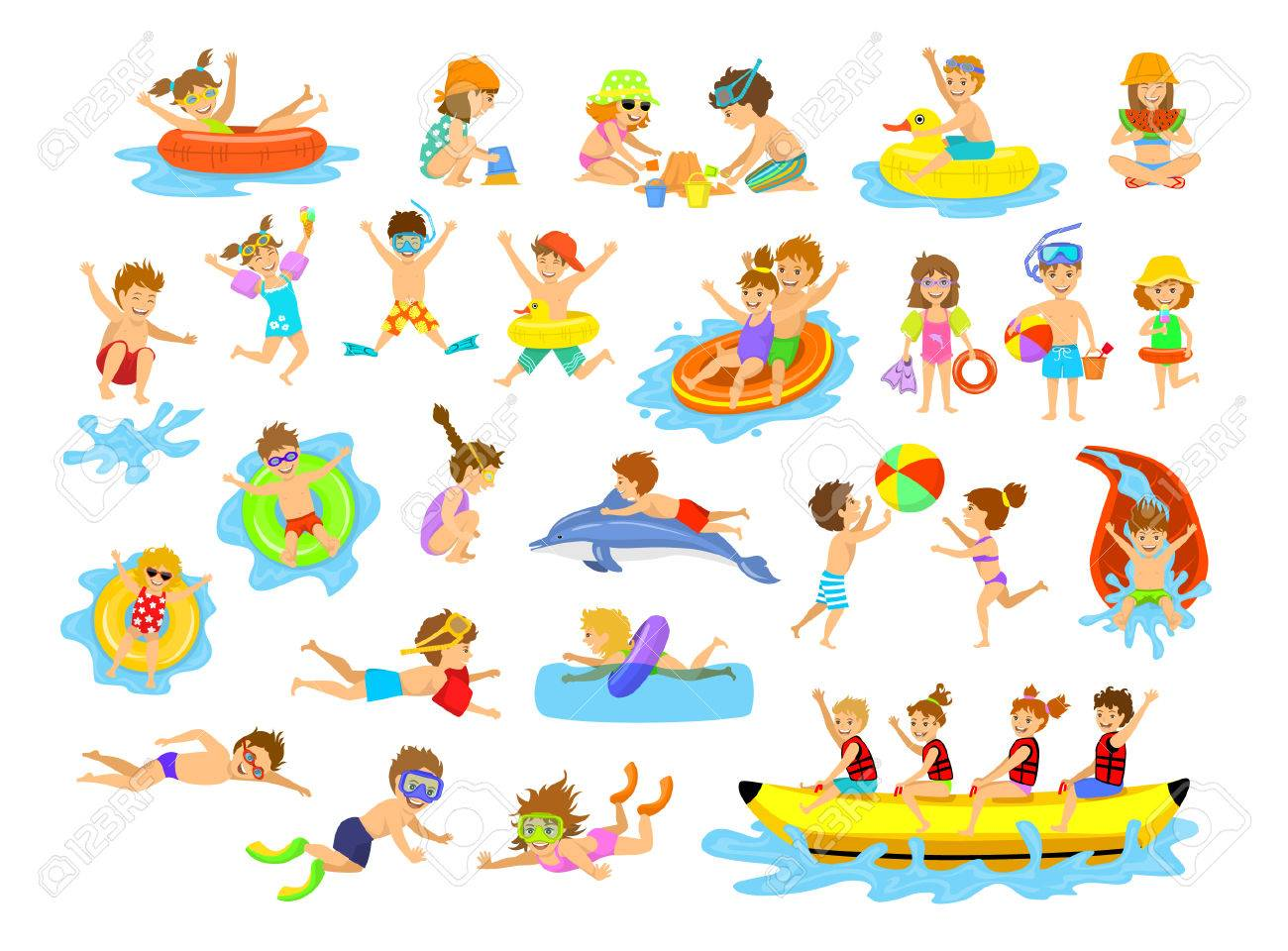 Children Summer Holidays Fun Activities At Beach On Water Boys