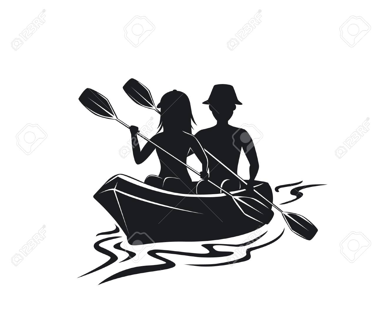 Man And Woman Kayaking Silhouette Front View Isolated Vector Illustration Stock