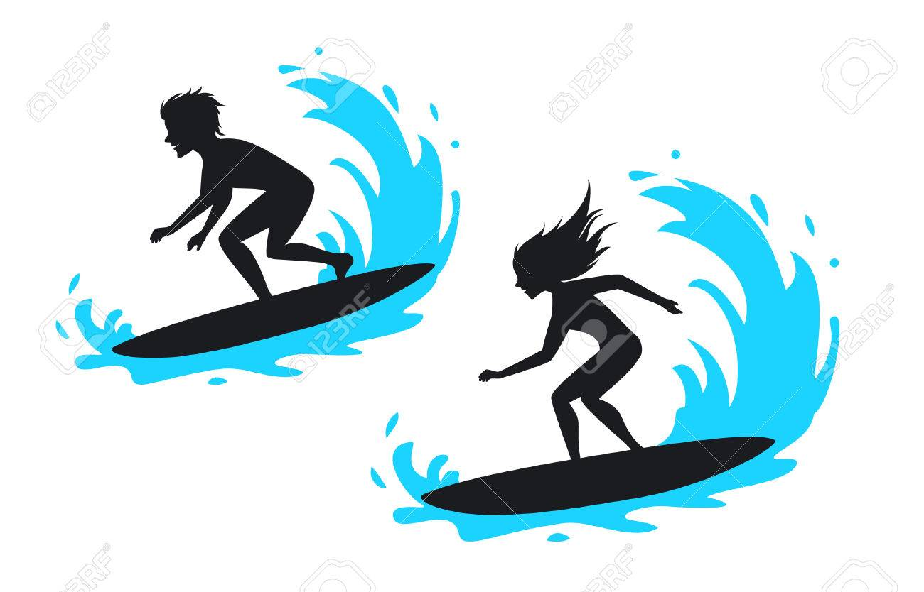 A Man And Woman Surfing Silhouette Vector Illustration