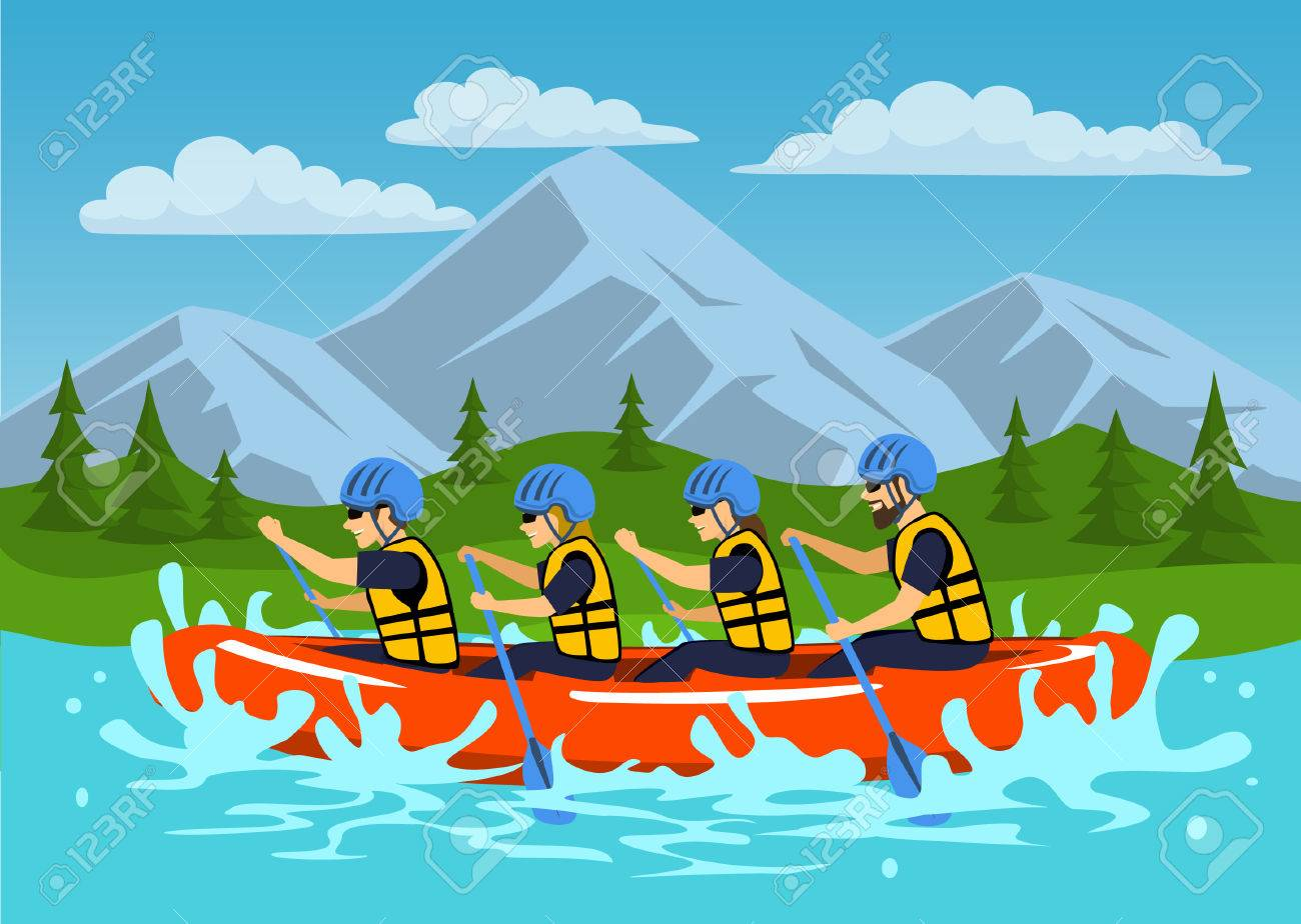 Team , group of people, man and woman whitewater rafting on river. cartoon mountain forest landscape on background - 80638091
