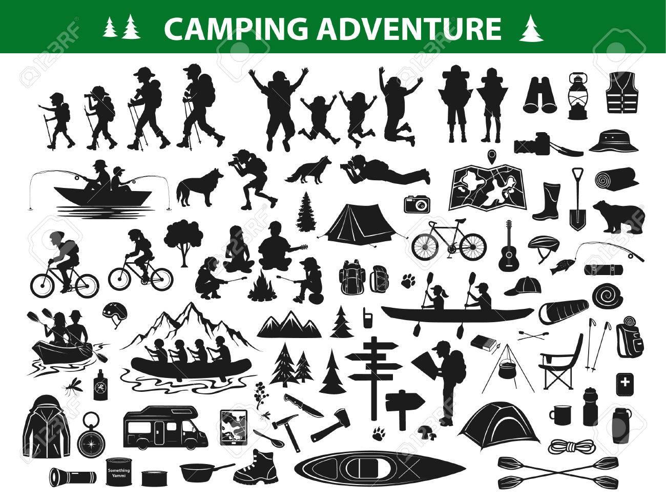 Camping Hiking Silhouette Collection Set People Trekking Navigating Sitting At Campfire Tent Kayaking Rafting Fishing Mountain Biking Campsite Gear