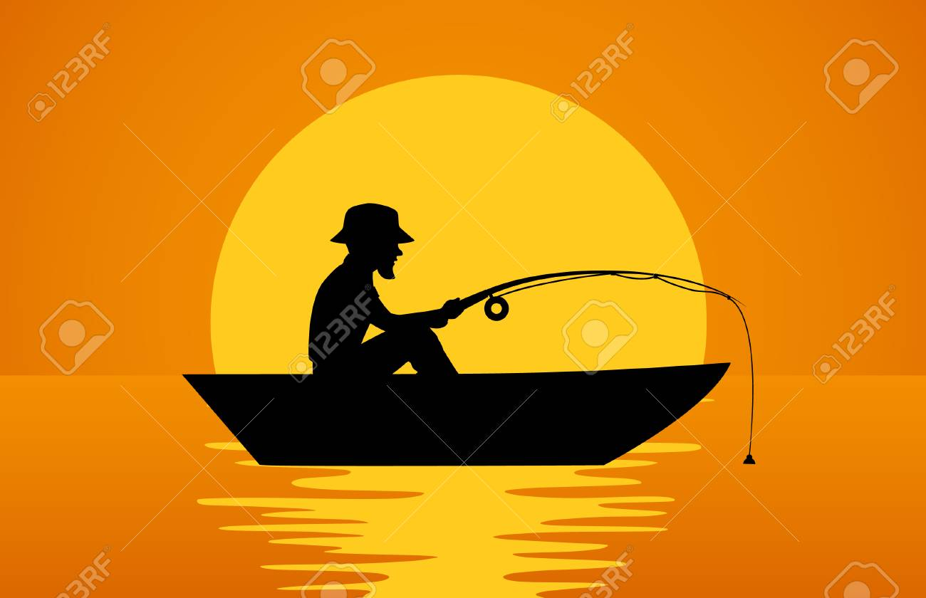 A Man Fishing On Boat Silhouette Royalty Free Cliparts Vectors And Stock Illustration Image 80637732
