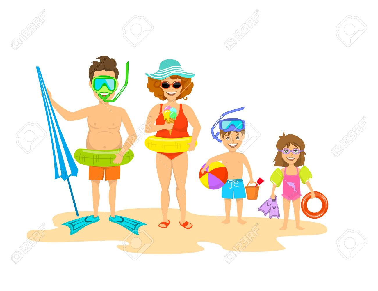 Funny Happy Family On The Beach Isolated Vector Ilustration Stock