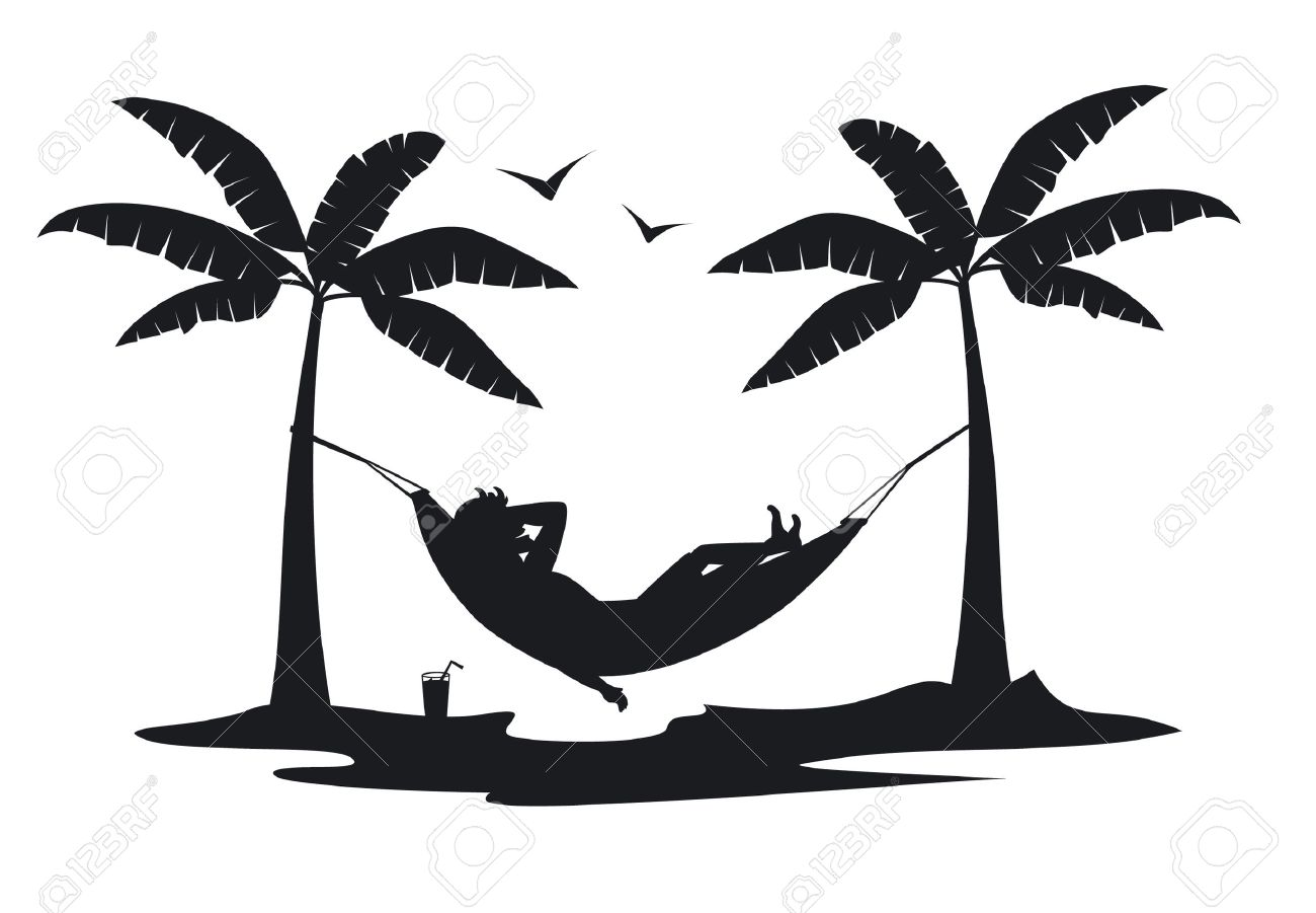 person relaxing lying in hammock on the beach under palm trees silhouette scene - 80917134
