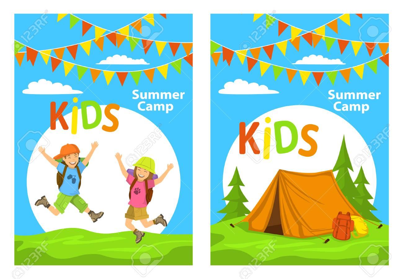 Plantillas De Carteles De Campamento Para Niños Con Niños Saltando ...
