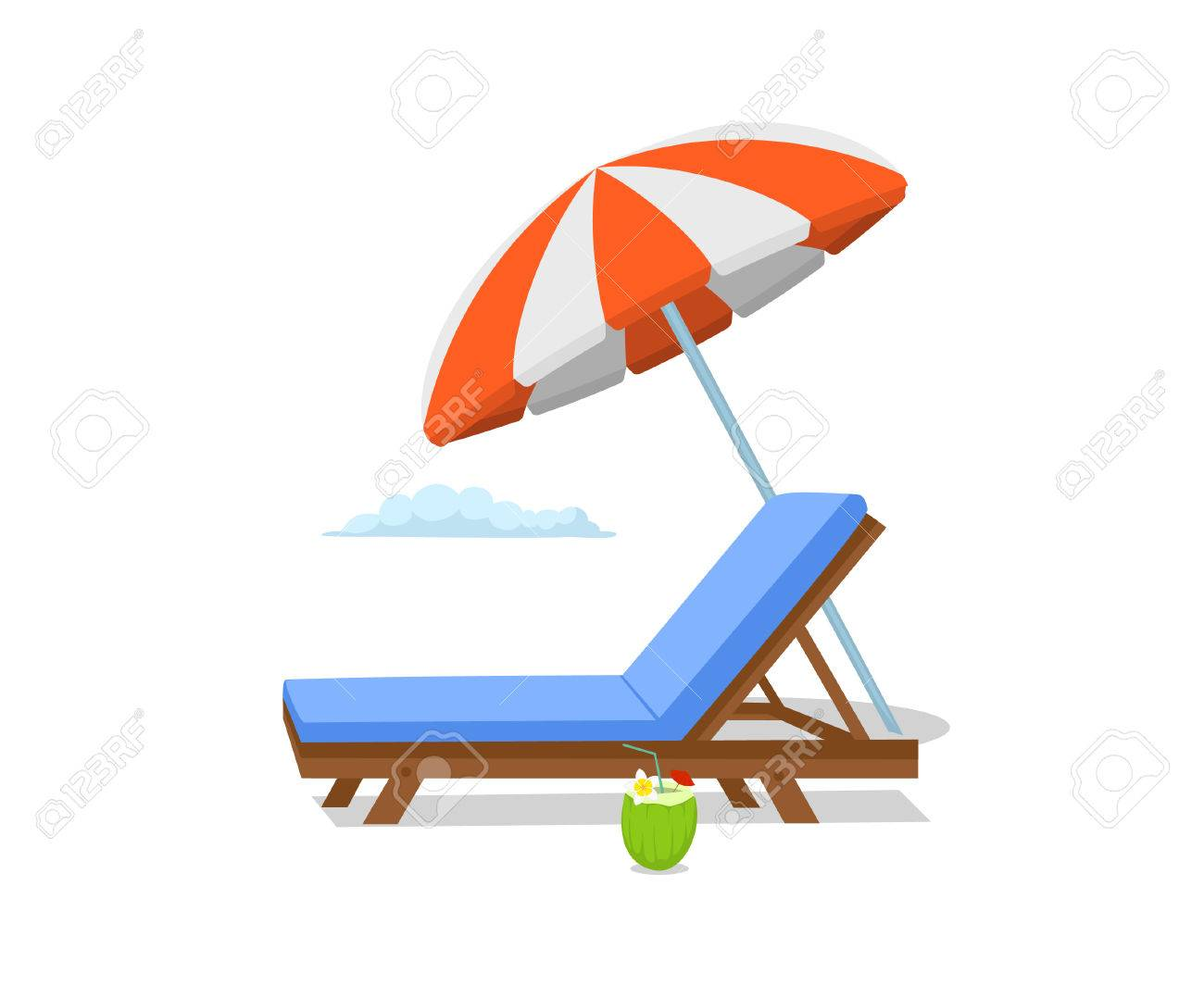 Summer Time Beach Umbrella , Lounge Sun Chair Scene. Isolated Stock Vector    81864785