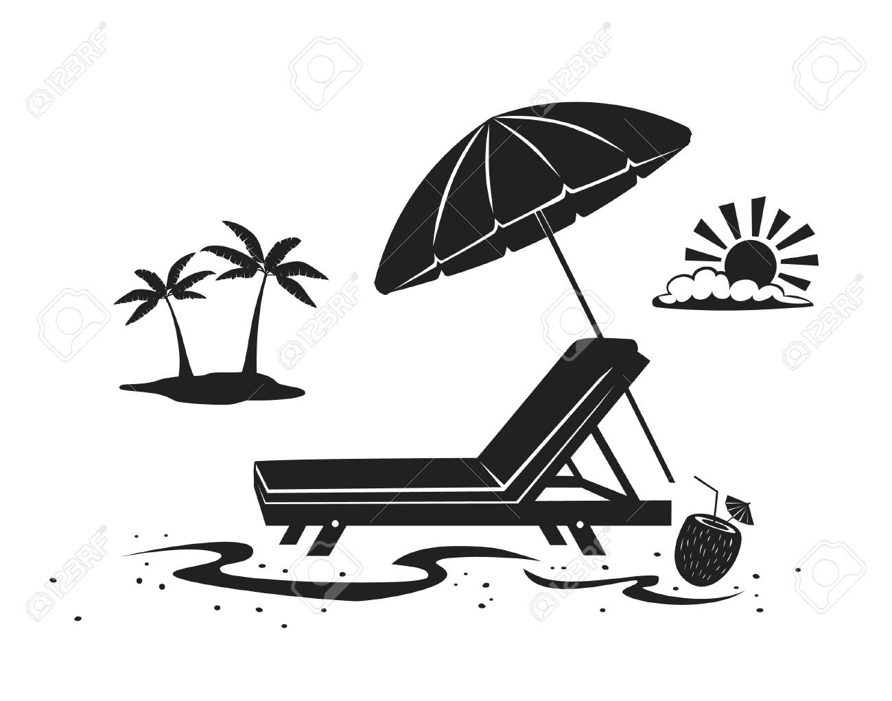 summer beach time vacation silhouette background with umbrella,..