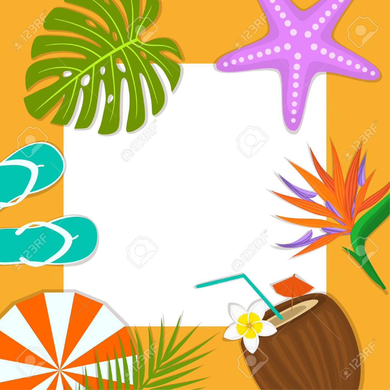 d2c3497249a6d summer time beach travel frame card background template flip flops