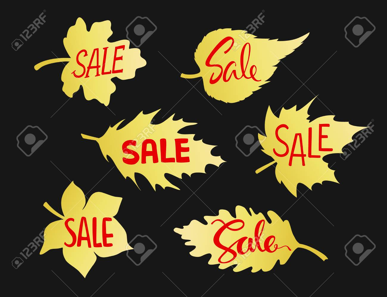 autumn fall leaves shape sale banners in gold gradient on black