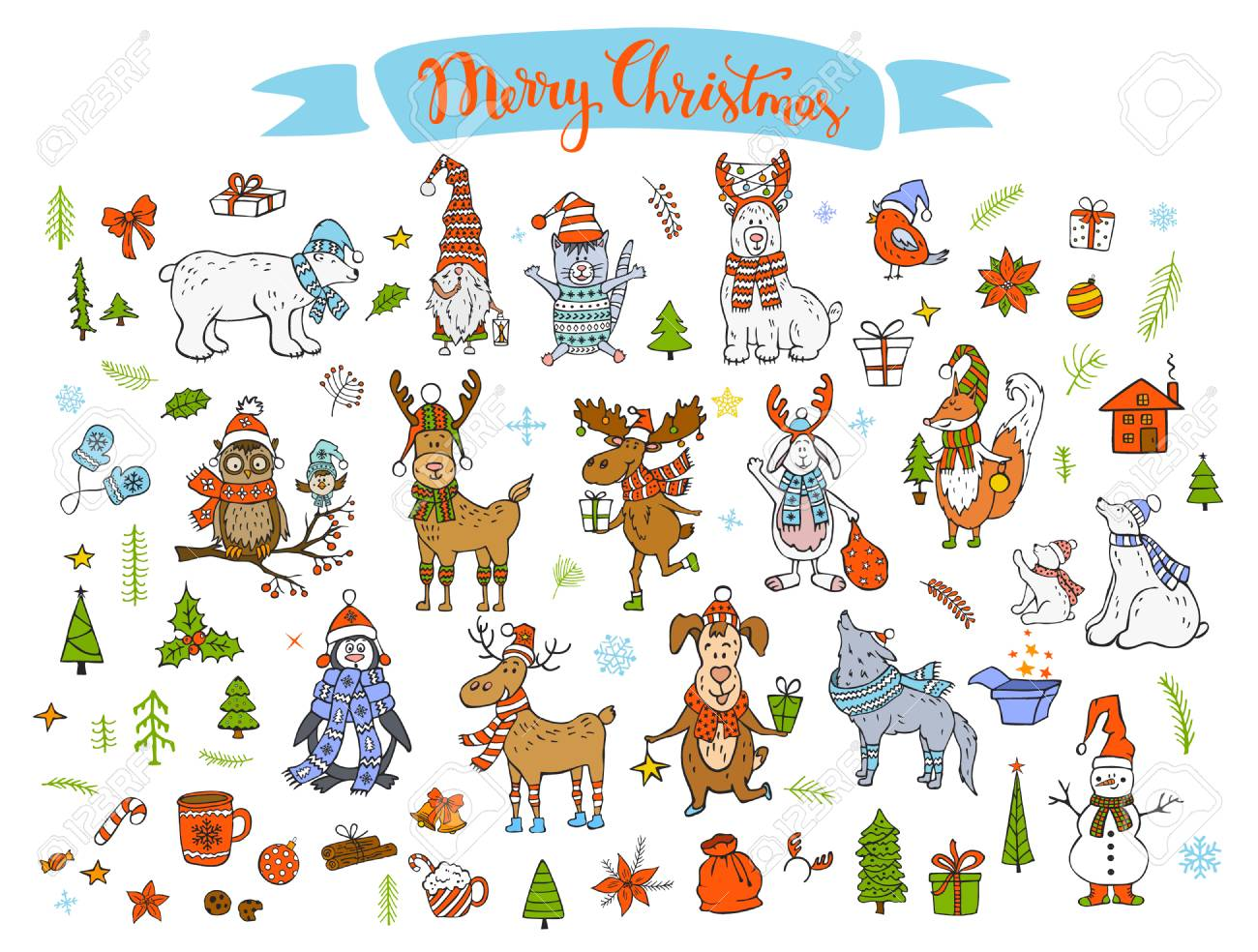 Merry Christmas Happy New Year Winter Cartoon Cute Funny Animals