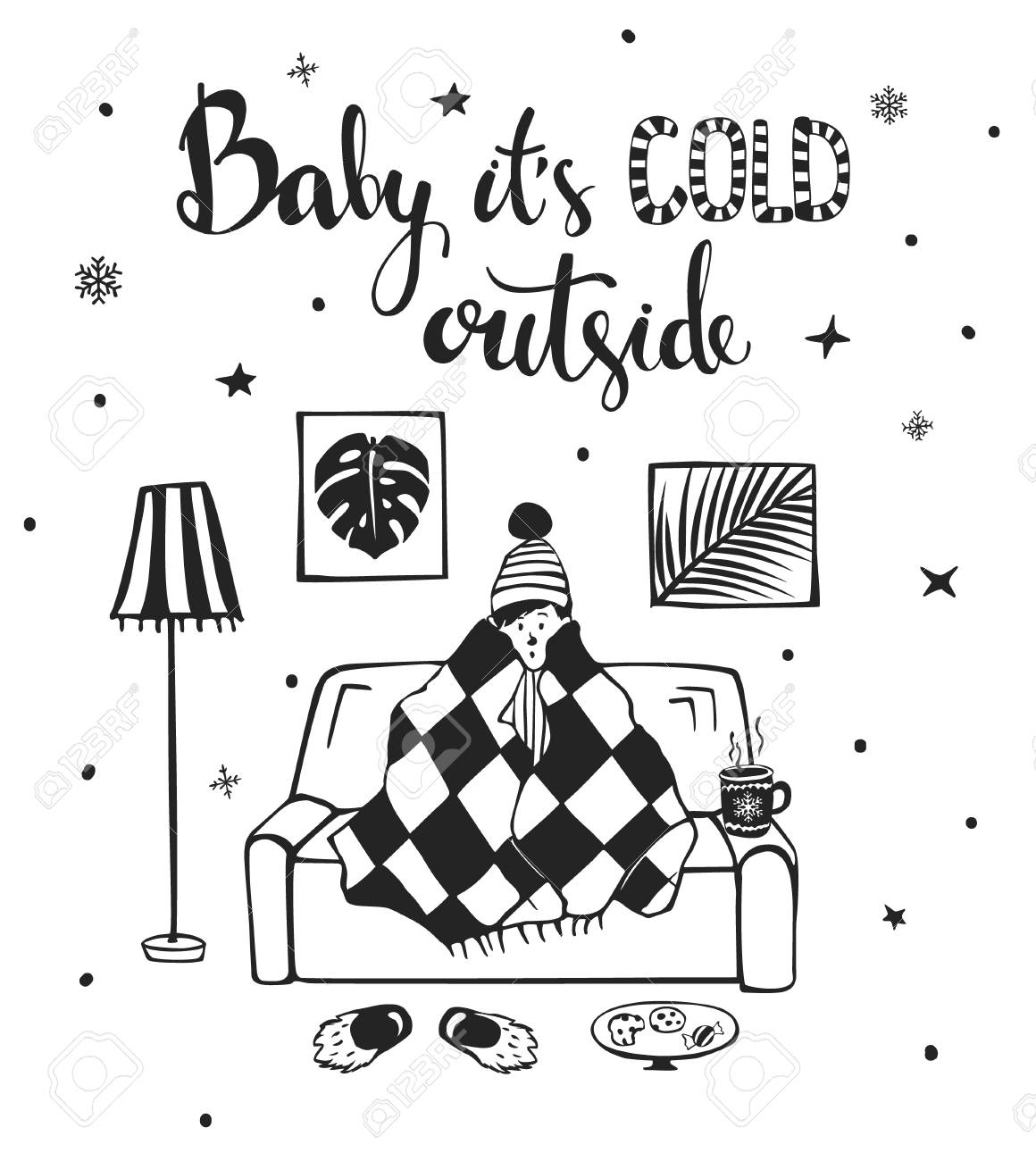 Baby its cold outside handwritten quote design.