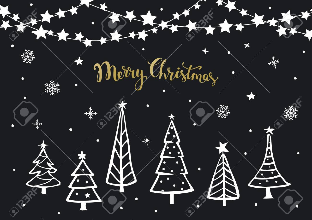 Black White Gold Merry Christmas Happy New Year Background Greeting Card Template With Xmas Cartoon Pine