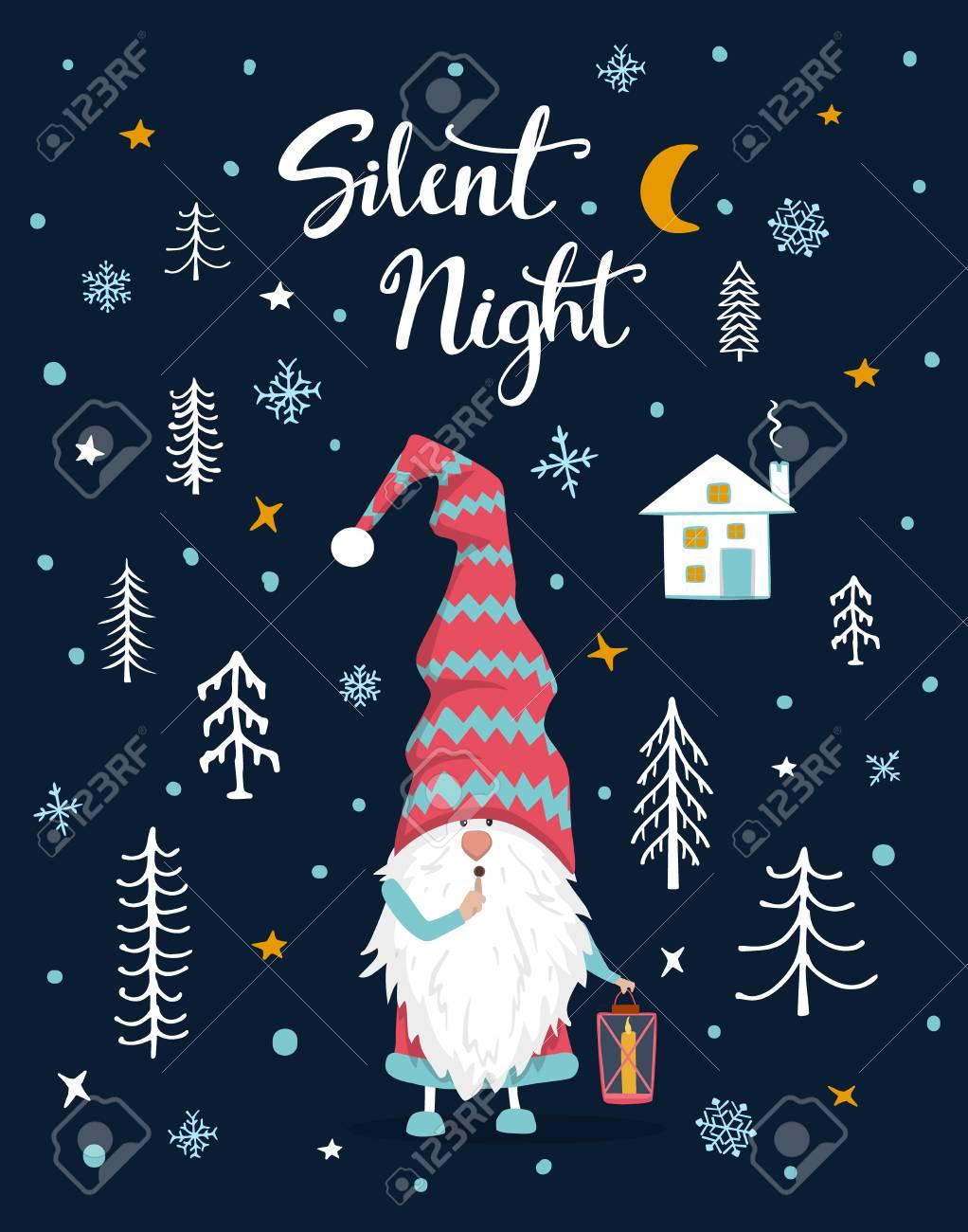Silent Night Handwritten Hand Drawn Xmas Merry Christmas Greeting ...