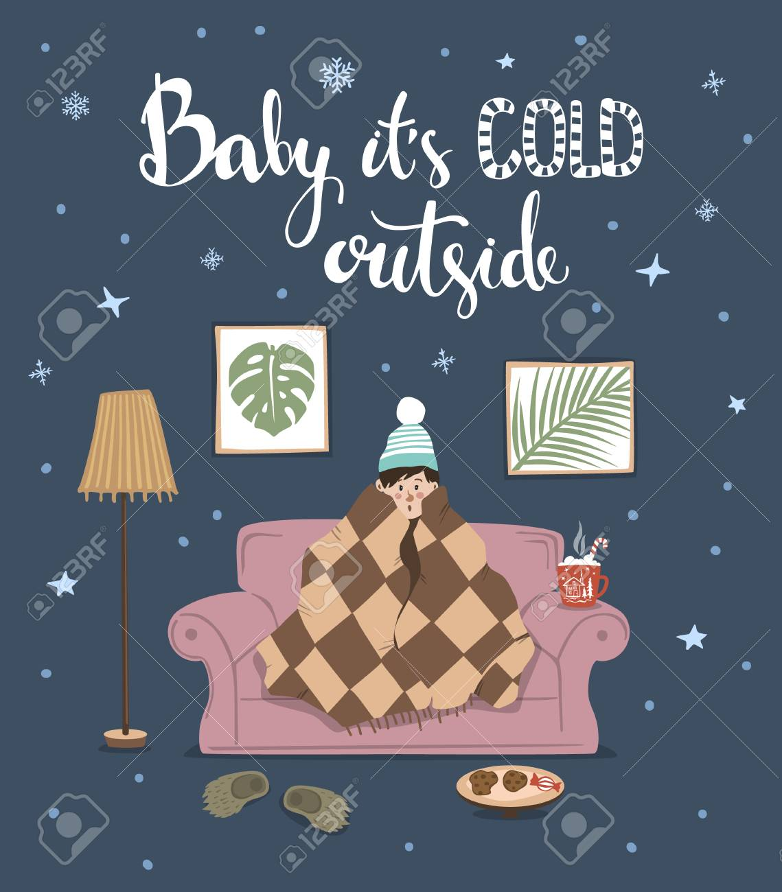Baby its cold outside handwritten quote, cute humor winter card..