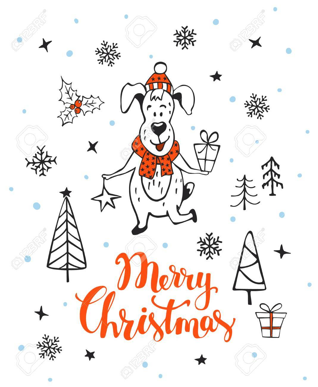 hand drawn merry christmas happy new year 2018 winter greeting card background with cute cartoon dog