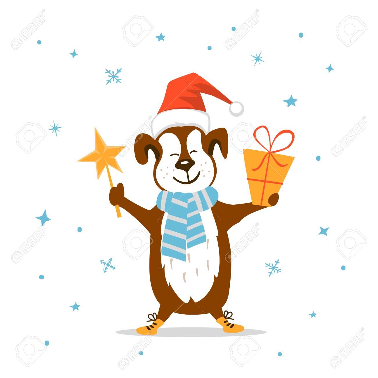 Frohe Weihnachten Frohes Neues Jahr 2018 Niedliche Lustige Hundchen