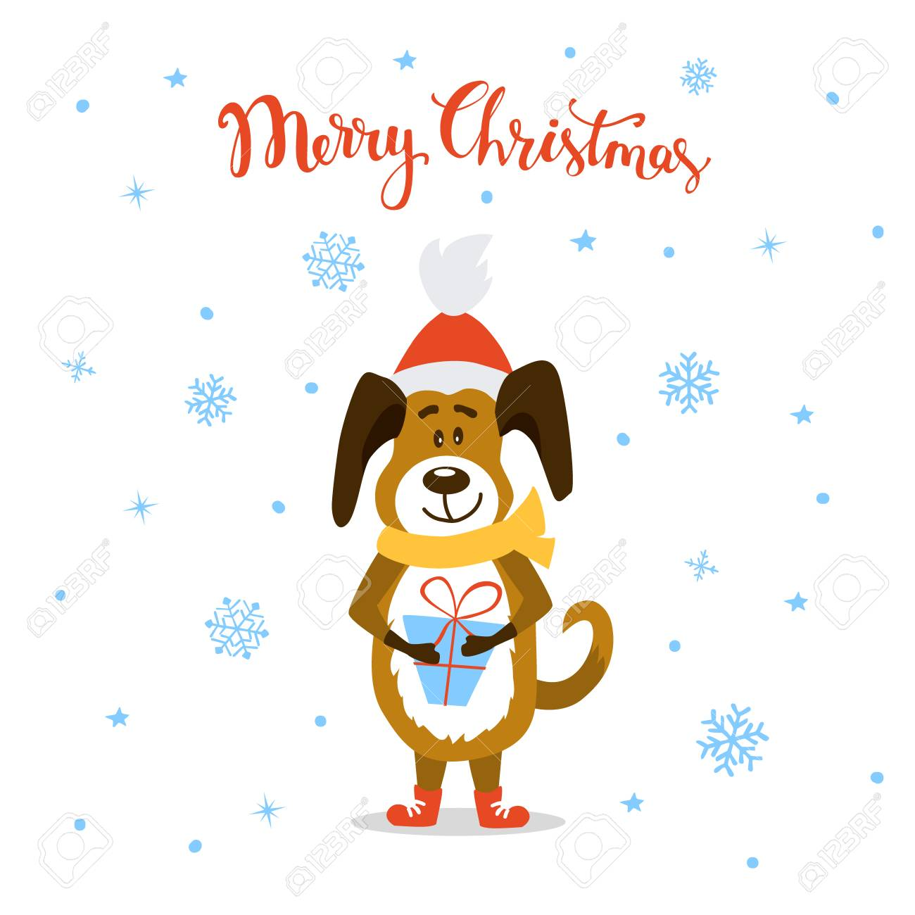 Merry Christmas Happy New Year 2018. Cute Funny Cartoon Dog Standing ...