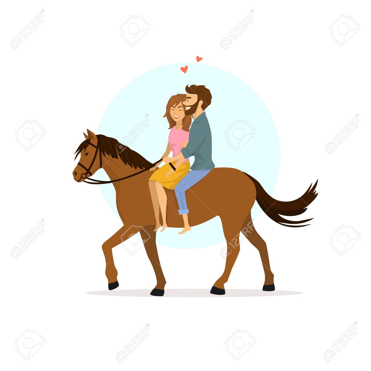 Cute Romantic Cartoon Couple In Love Horseback Riding Royalty Free Cliparts Vectors And Stock Illustration Image 94464893