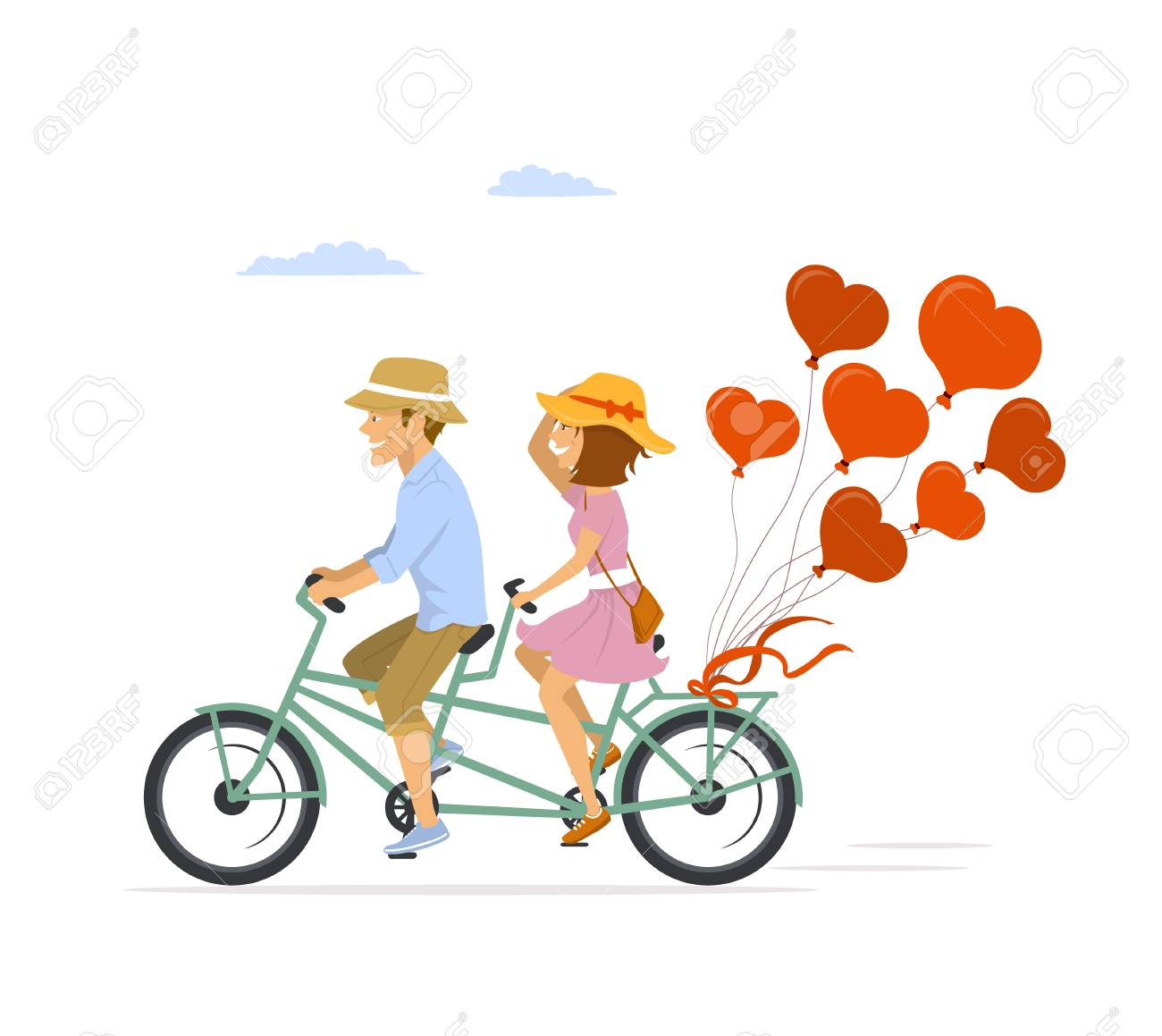 Cute romantic cheerful couple riding tandem bike with heart shaped balloons - 94465211