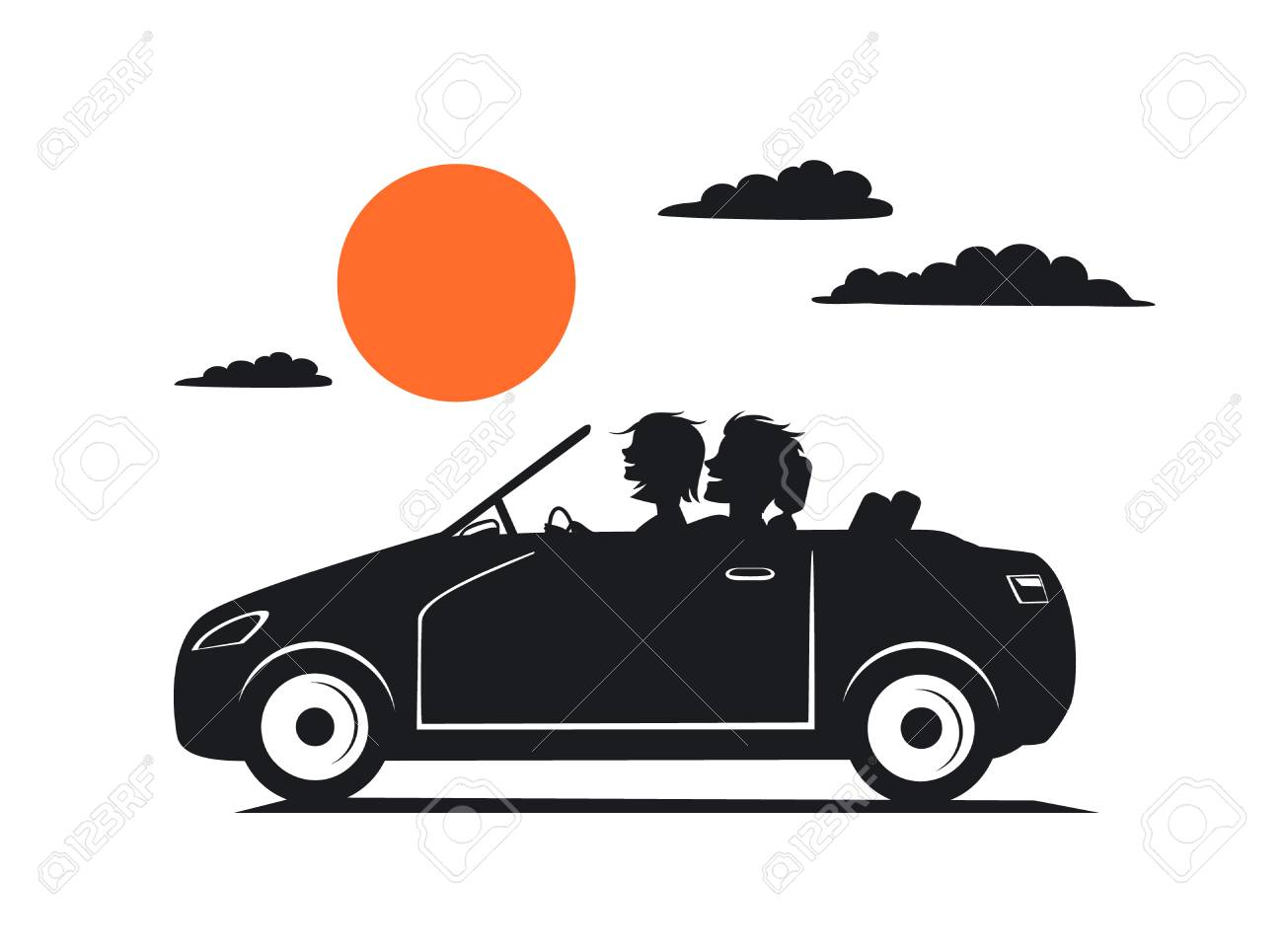 Silhouette Of Couple, Man And Woman In Love On The Roadtrip Drivig ...
