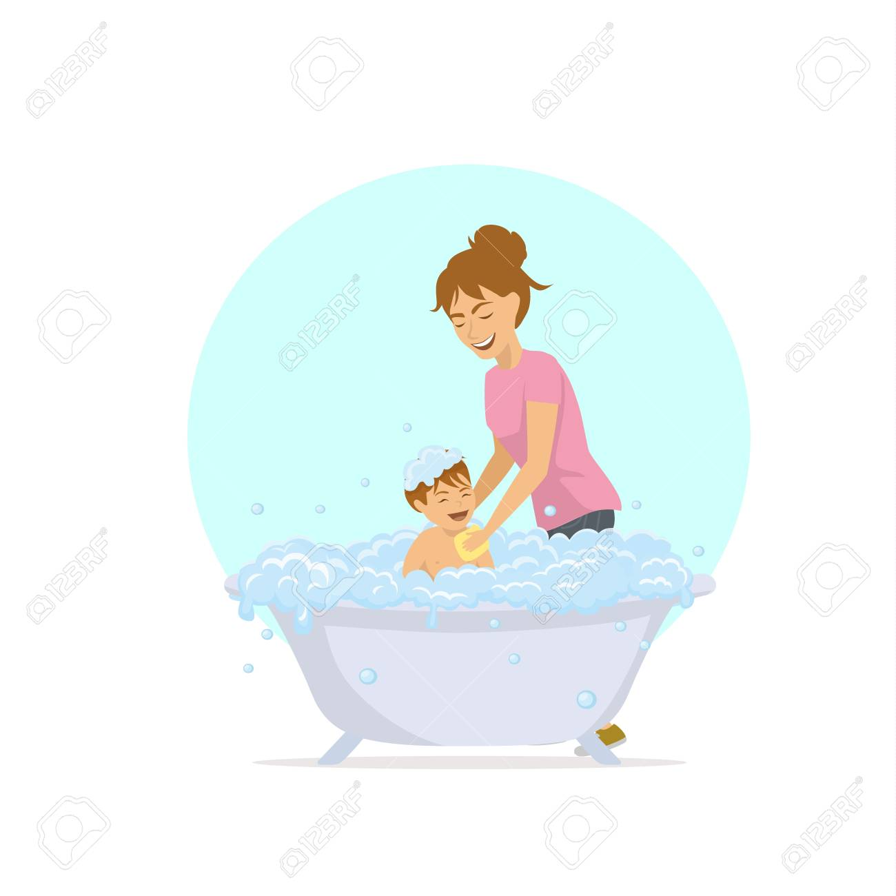 Cute Cheerful Mother Woman Bathing Her Child In A Bathtub With ...