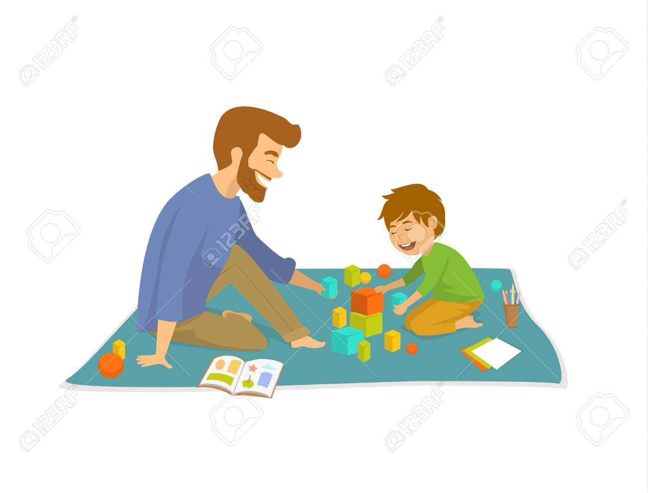 Cartoon boy with his father holding hands together vector image on  VectorStock | Cartoon boy, Kids clipart, Cartoon
