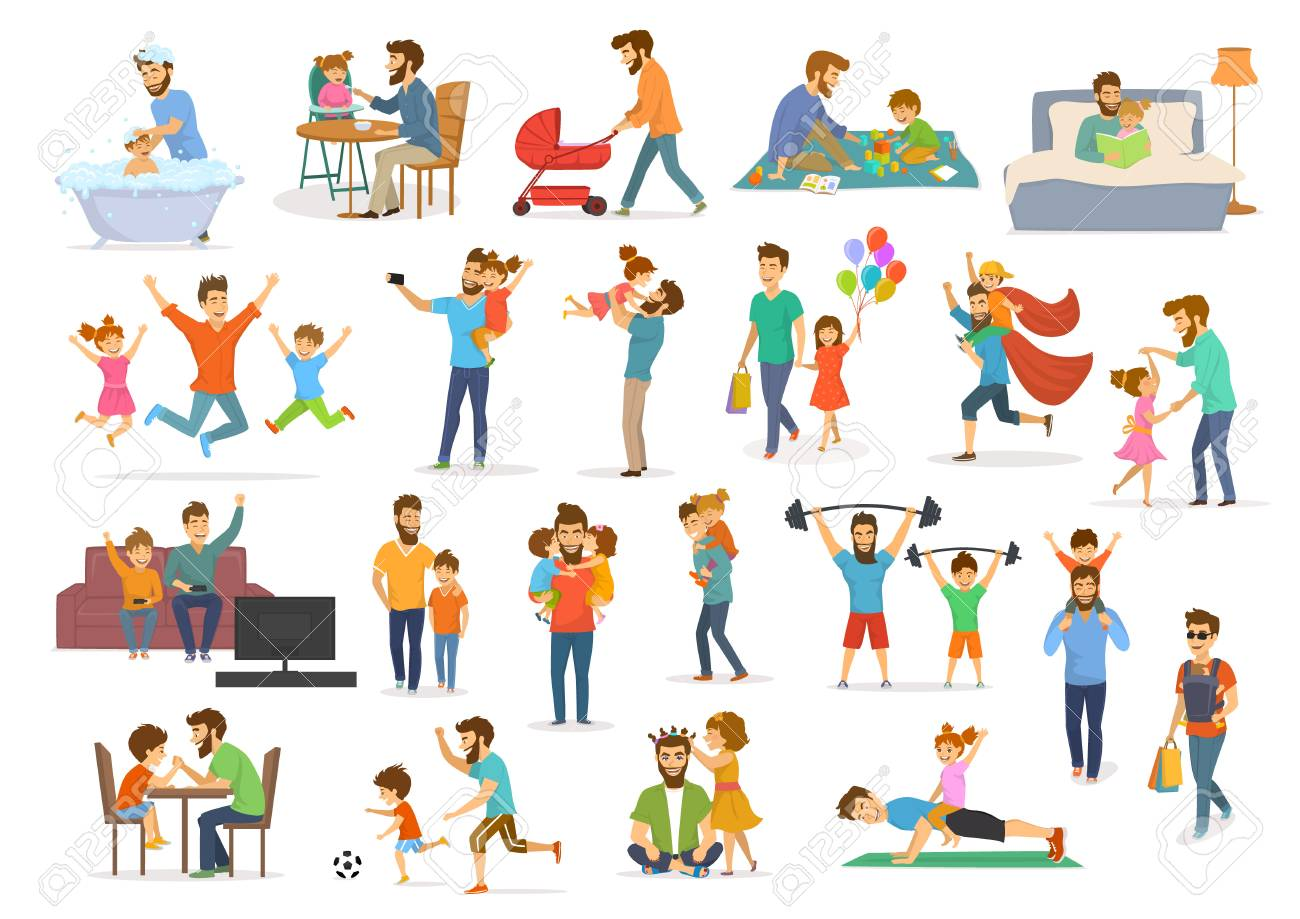Father and child collection, having fun, jump, walk, dance, play superhero, soccer, video game, take selfie, hug kiss, read book, exercise, feeding and bathing, man with pram and baby wrap vector illustration isolated scenes. - 97992012