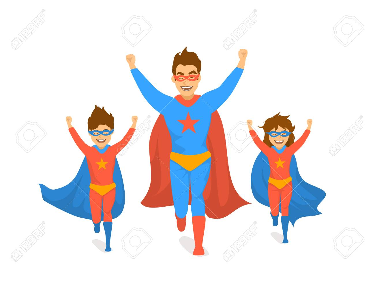 family, dad and kids, cute boy and girl playing superheroes, running  excited in