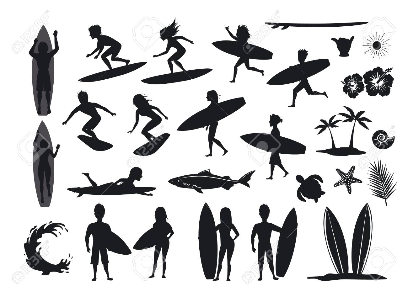 Surfers Silhouettes Set Men And Women Surfing Riding Waves