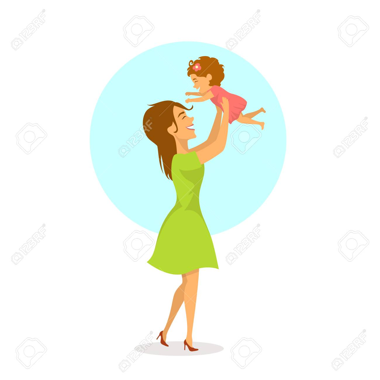 Happy Cheerful Mother And Baby Daughter Playing Mom Lifting Royalty Free Cliparts Vectors And Stock Illustration Image 99136287