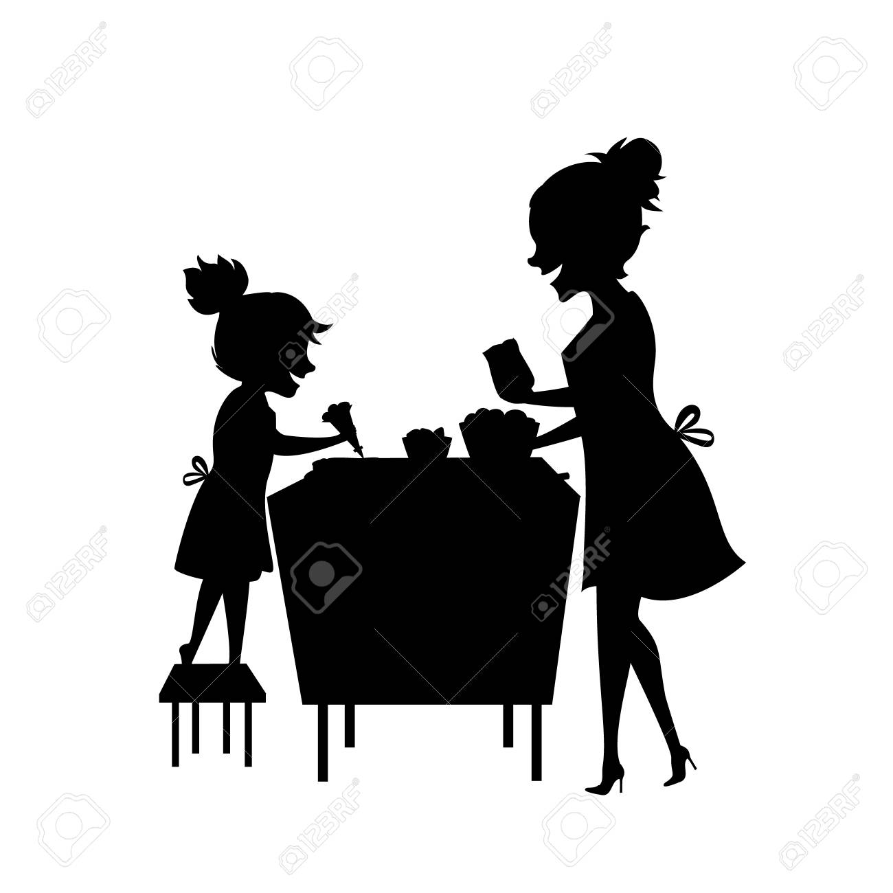 mother and daughter woman and child baking together silhouette rh 123rf com parent child silhouette vector child playing silhouette vector