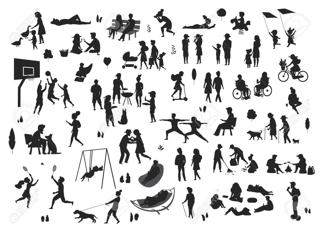 people in the park scenes silhouettes set - 109844514