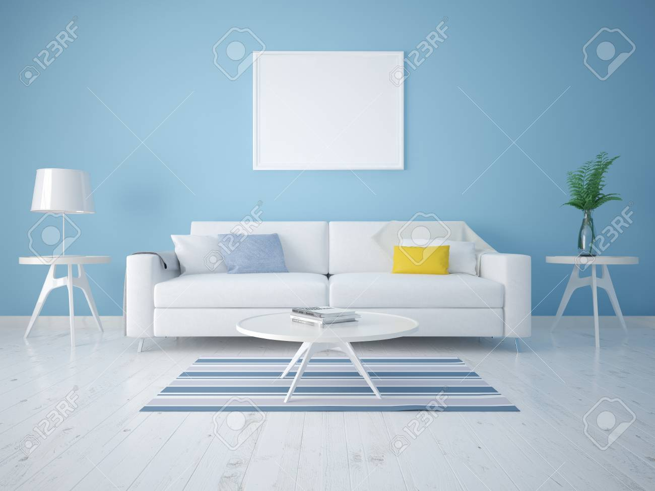 Mock Up A Modern Living Room With A Compact Sofa On A Background Stock Photo Picture And Royalty Free Image Image 95187186