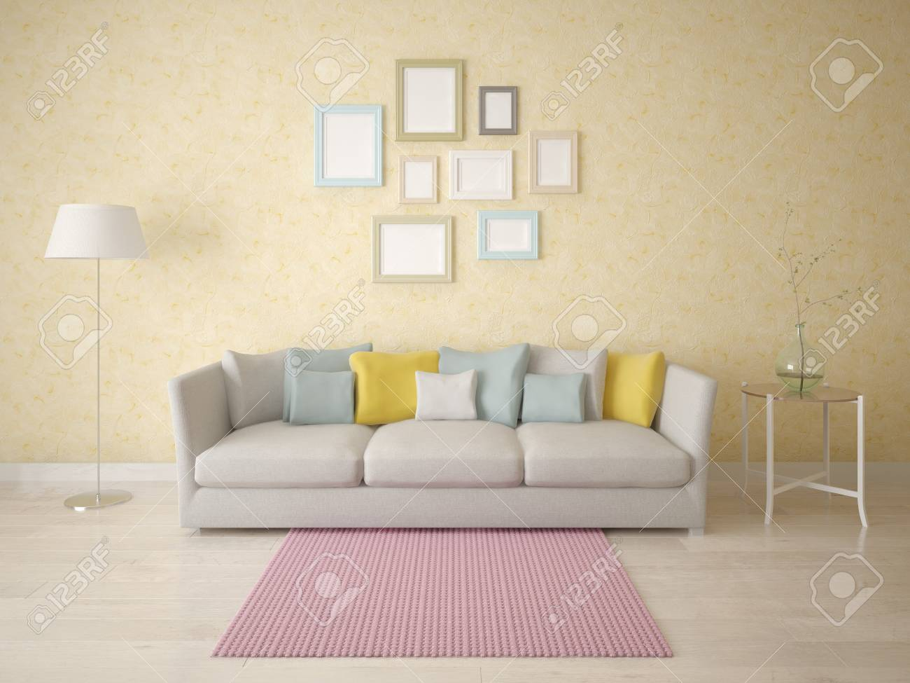 Mock up a stylish living room with an exclusive sofa on the background..