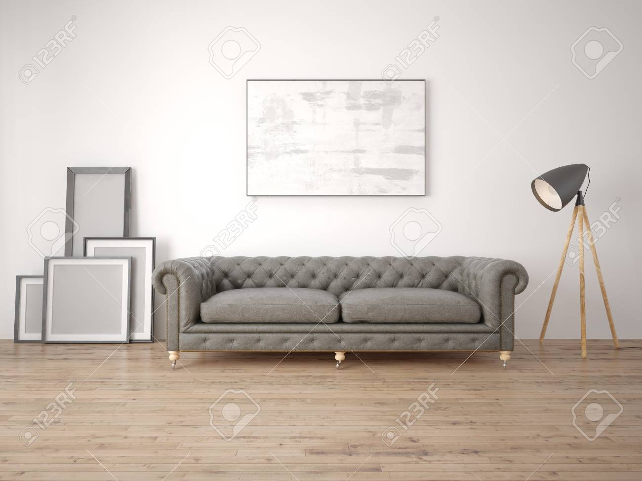 Mock Up A Modern Living Room With A Classic Sofa And A White Stock Photo Picture And Royalty Free Image Image 98888563