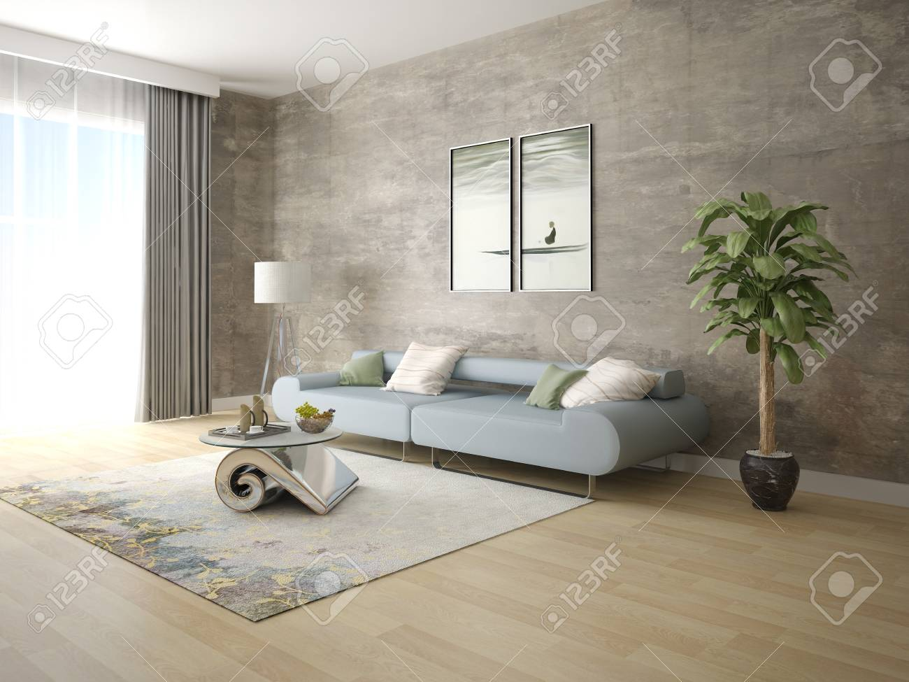 123RF.com & Mock up a trendy living room with a stylish comfortable sofa..
