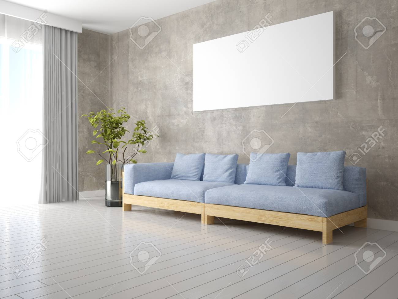 Mock Up A Modern Living Room With A Stylish Comfortable Sofa.. Stock ...